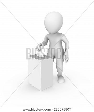 3d white man and vote box and ballot