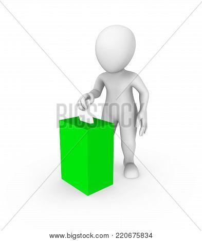 3d white man and green vote box