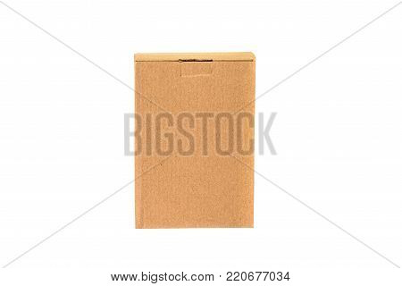 Brown Tray Or Brown Paper Package Or Cardboard Box Isolated On White With Clipping Path.