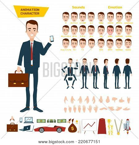 A great set for the animation of a businessman character on a white background. Animation of sounds, emotions, gestures of hands. View straight, side, back. Disassembled body elements for animation.