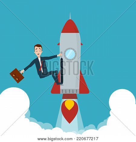 The businessman seized the rocket and flew up. One hand holds on to the rocket, in the other hand the briefcase.