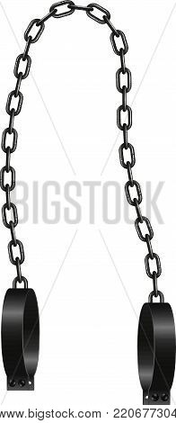 Vintage handcuffs and steel chain on white background