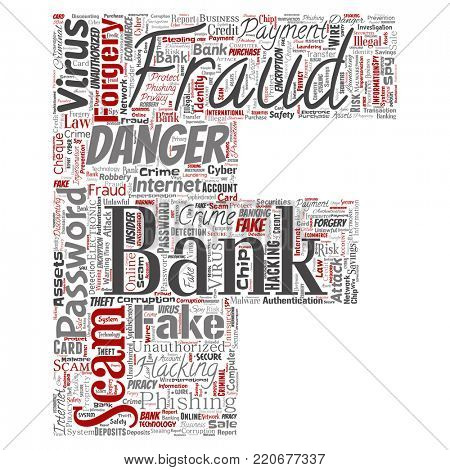 Conceptual bank fraud payment scam danger letter font B word cloud isolated background. Collage of password hacking, virus fake authentication, illegal transaction or identity theft concept