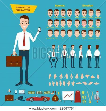 Great set for the animation of businessman character on blue background. Animation of sounds, emotions, gestures of hands. View straight, side, back. Disassembled body elements for animation