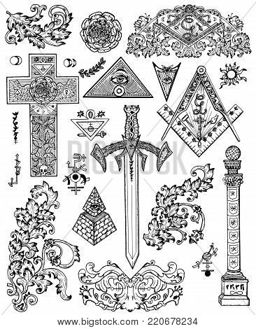 Design set with graphic drawings of mystic, religious and fantasy symbols. Freemasonry and secret societies emblems, occult and spiritual mystic drawings. Tattoo design, new world order
