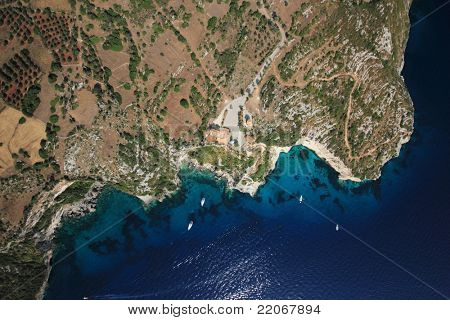 Aerial view on Zakynthos island Greece