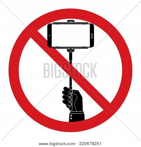 Human hand hold selfie sticks with No selfie sticks prohibit sign. Vector illustration isolated prohibit sign on white background.