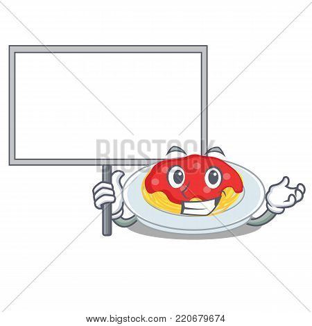 Bring board spaghetti character cartoon style vector illustration