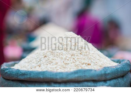 Asian rice selling market in northern Laos