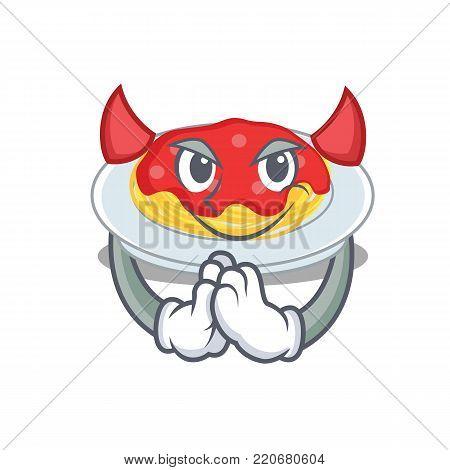 Devil spaghetti character cartoon style vector illustration