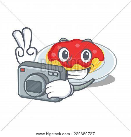 Photographer spaghetti character cartoon style vector illustration