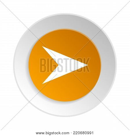 Circle shape web pictogram with arrow sign. Interface navigation element for web design or mobile application isolated on white background vector illustration.