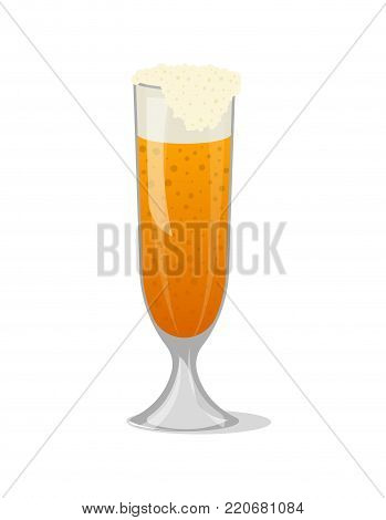 Glass mug of frothy beer isolated icon in cartoon style. Brewery, alcohol drink, ale symbol, bar or pub menu design element vector illustration.