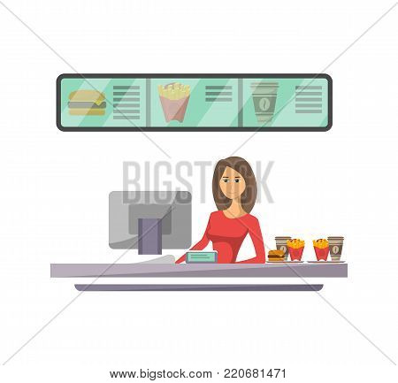 Shop counter with cashier icon in flat style. Street fast food cafe element, restaurant takeaway menu vector illustration.
