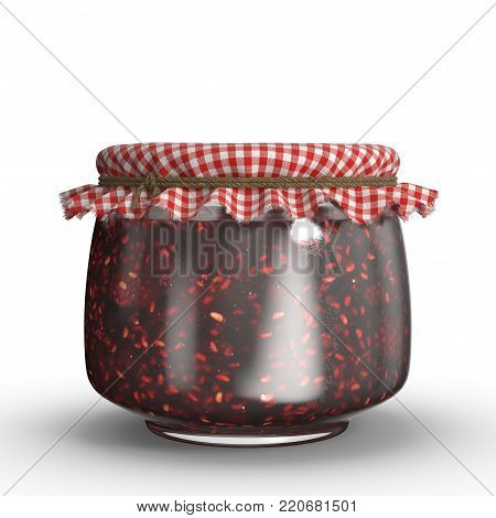 A small jar of raspberry jam covered with a cloth. The image is a 3D model renderer.