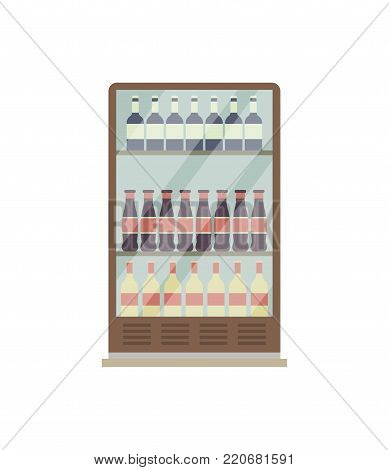 Showcase refrigerator for drinks isometric 3D icon. Supermarket fridge dispenser, cooling machine isolated vector illustration.