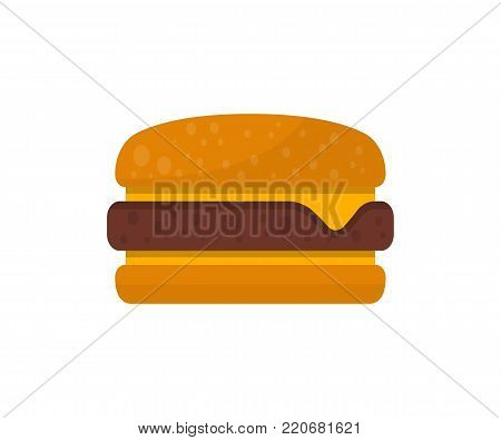 Cheeseburger isolated on white background vector illustration. American fast food, restaurant takeaway menu element.