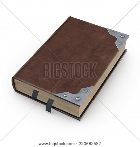 Ancient book in leather binding. This image is a 3D model rendering. poster