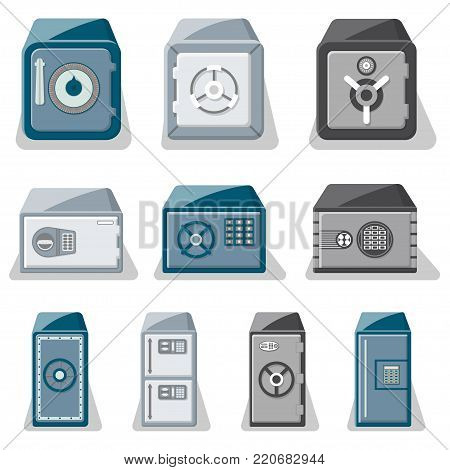 Metallic safe box with closed door and buttons of electronic combination lock set. Money storage, financial safety, cash security, bank deposit box isolated on white background vector illustration.