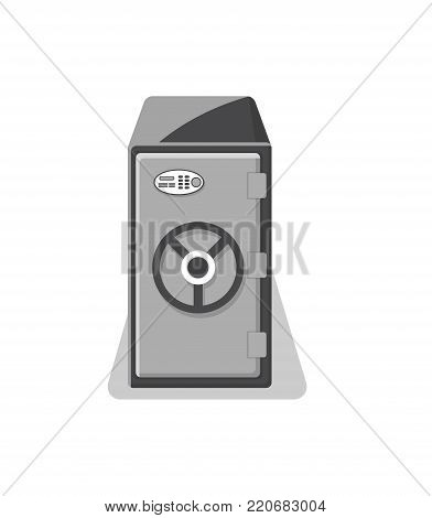 Metallic strongbox with closed door icon. Money storage, financial safety, cash security, bank deposit box isolated on white background vector illustration.
