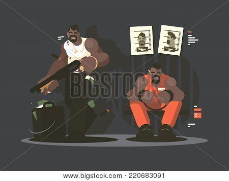 Prisoner in jail for armed robbery bank. Vector illustration flat