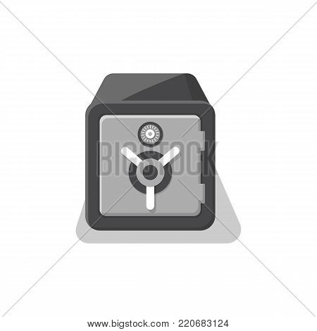 Armored strongbox with closed door icon. Money storage, financial safety, cash security, bank deposit box isolated on white background vector illustration.