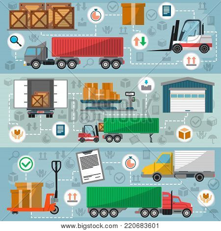 Freight road trucking logistics and management. Commercial shipping and goods distribution, freight transportation, local delivery. Container truck, warehouse building, forklift vector illustration