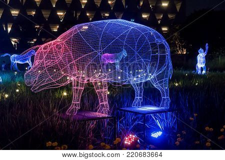 Thailand Illumination Festival 2017, Bangkok, Thailand Dec 9, 2017 : Spectacular LED light display inspired by the garden lighting festival in Japan winter. Focus on illuminated pig, one of zodiac sign.