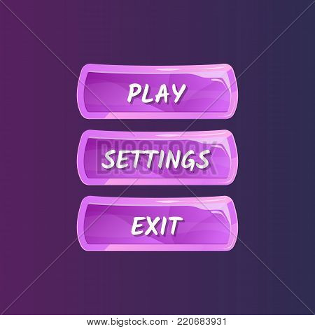 Purple panel for game menu interface. Play, settings and exit buttons. Bright user options selection, windows panel vector illustration