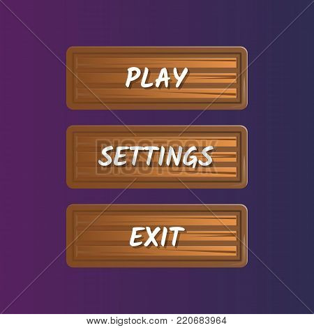Brown options selection windows in cartoon style. Play, settings and exit buttons. Bright user game design isolated vector illustration