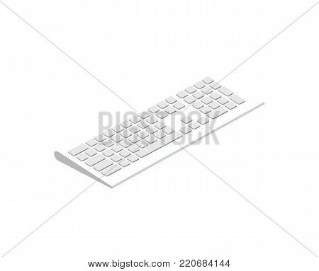 White wireless keyboard isometric 3D icon. Digital technologies, computer device with network communication vector illustration