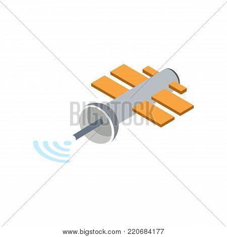 Orbital communication satellite isolated icon. Astronautics and space technology object, spacecraft vector illustration in flat design.