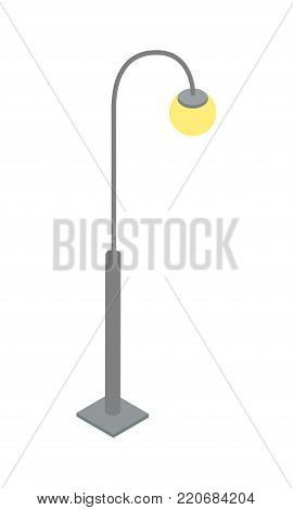 Elegant streetlamp isometric 3D icon. City street lantern, urban road lights or classic park street lamp isolated vector illustration