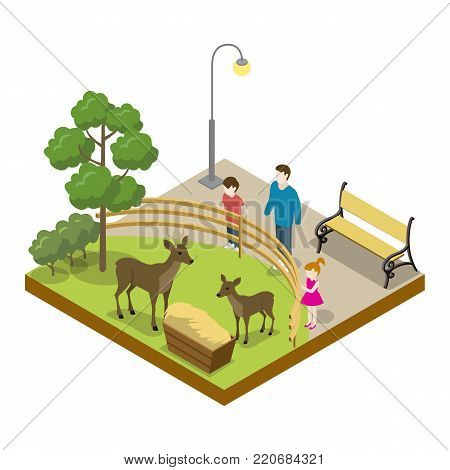 Cage with deers isometric 3D icon. Public zoo with wild animals and people, zoo infrastructure element for design vector illustration.