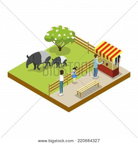 Cage with tapirs isometric 3D icon. Public zoo with wild animals and people, zoo infrastructure element for design vector illustration.