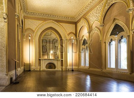 MONSERRATE, PORTUGAL - October 3, 2017: The indian room with its large mirror in the Monserrate Palace, an exotic palatial villa located near Sintra, Portugal