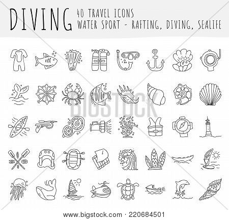 Diving vector hand draw icon set. Diving equipment, sealife, sea attributes in one lined doodle icon collection. Crab, seashell, perl, oxygen equipments for divers on one icon set, isolated on white background