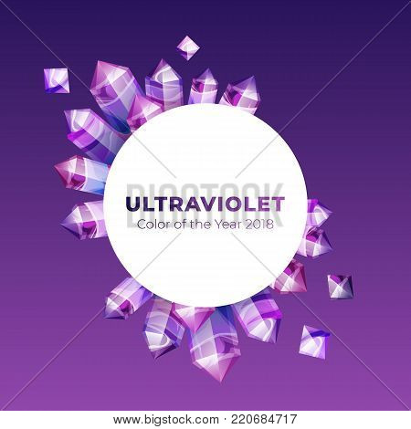 Ultraviolet amethyst gemstones design template. Vector backdrop of ultra violet gems on gradient background. Boho magic crystals in trendy purple color of the year