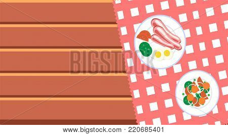 Cooking and food web banner template with breakfast on wooden table. Top view of plate with breakfast. Element for culinary infographic, brochure, restaurant presentation. Flat vector illustration.