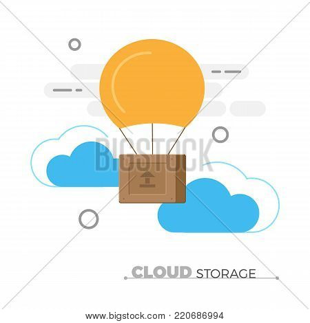 Cloud storage vector concept. Flat design illustration of wooden box, flying in clouds with baloon. Data storage, cloud computing, file sharing illustration. Isolated.