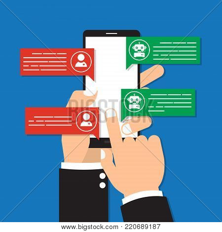 Human hand hold mobile phone with chatbot mobile on blue background. Vector illustration Chatbots AI artificial intelligence technology concept.