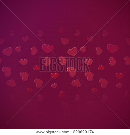 Sturated fading hearts line background for design