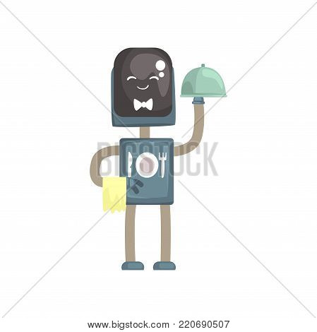 Robot waiter character, android with with cloche cartoon vector illustration isolated on a white background