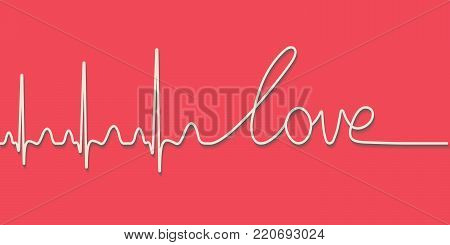 heartbeat pulse text the word love, hand drawn calligraphic line, vector love concept for Valentine's day, template greeting cards Valentine day