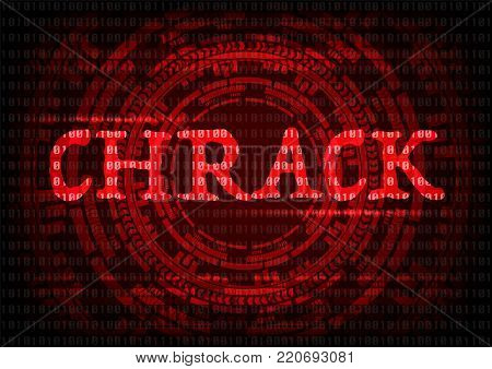 Abstract background KRACK word with gear technology wifi hack on WPA2 key security. Vector illustration KRACK in wifi cyber security infographic concept.