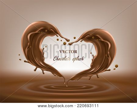 Vector 3D illustration of two melted, liquid chocolate splashes in a realistic style. Abstract heart shape for mockup of your product. Template for package desing, promotion flyer, poster, banner