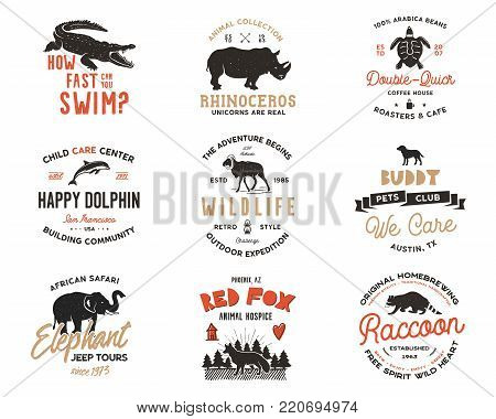 Wild animal Badges set and great outdoors activity insignias. Retro illustration of animal badges. Typographic camping style. Vector wild Animal logos with letterpress effect. Explorer quotes. Part 2.