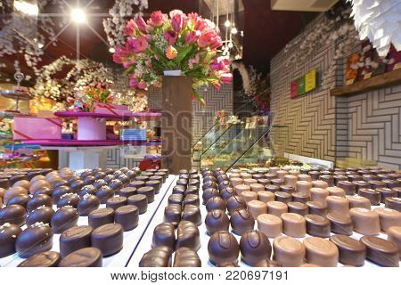 Zurich, Switzerland - April 2017:  famous Swiss chocolates in the show window of the street confectionery store