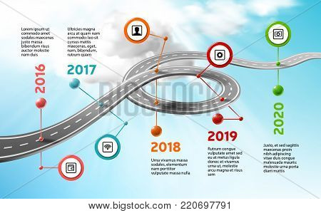 Vector company corporate milestone timeline, business presentation layout, infographic strategic plan workflow, clear, cloud sky background. Car curved road, years, marks, info icons, concept template