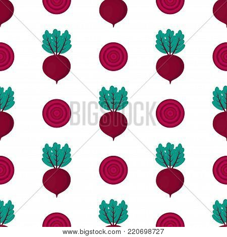 pattern with whole and slice of beet, red cute vegetables on white background